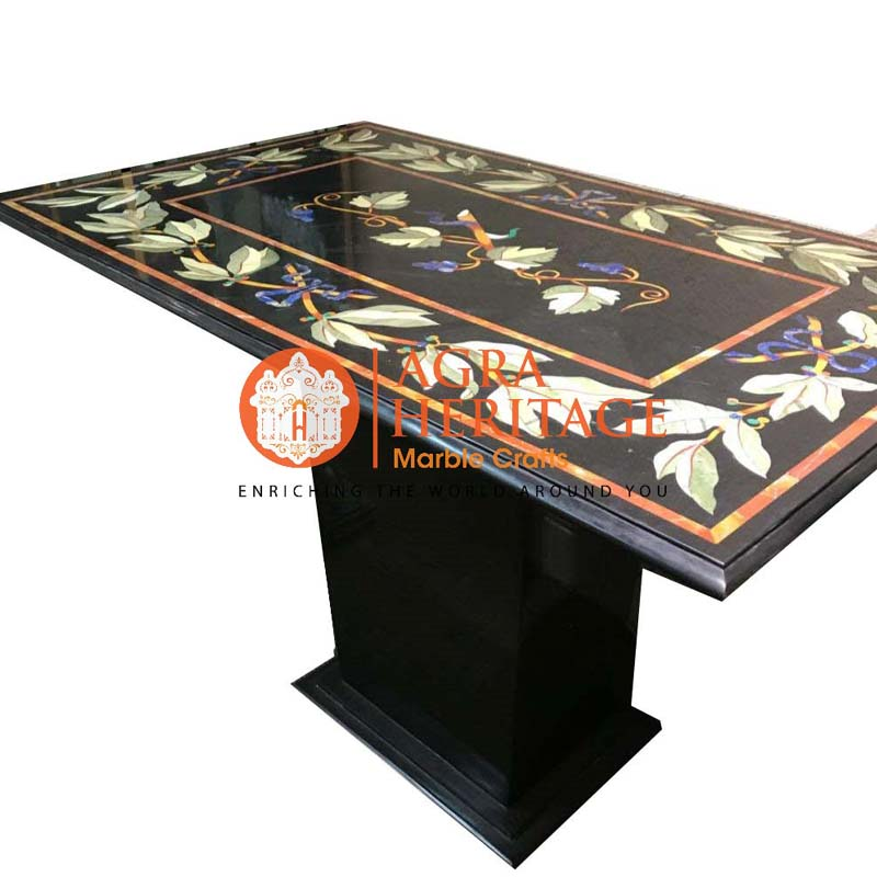 marble top dining table,stand table top, marble center dining table, restaurant table top, dining table for home decor, black marble table, black marble inlay table, living room table