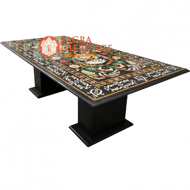 stand inlay table, big dining table, living room dining table, marble stand table, black marble inlay table, marble inlay table top