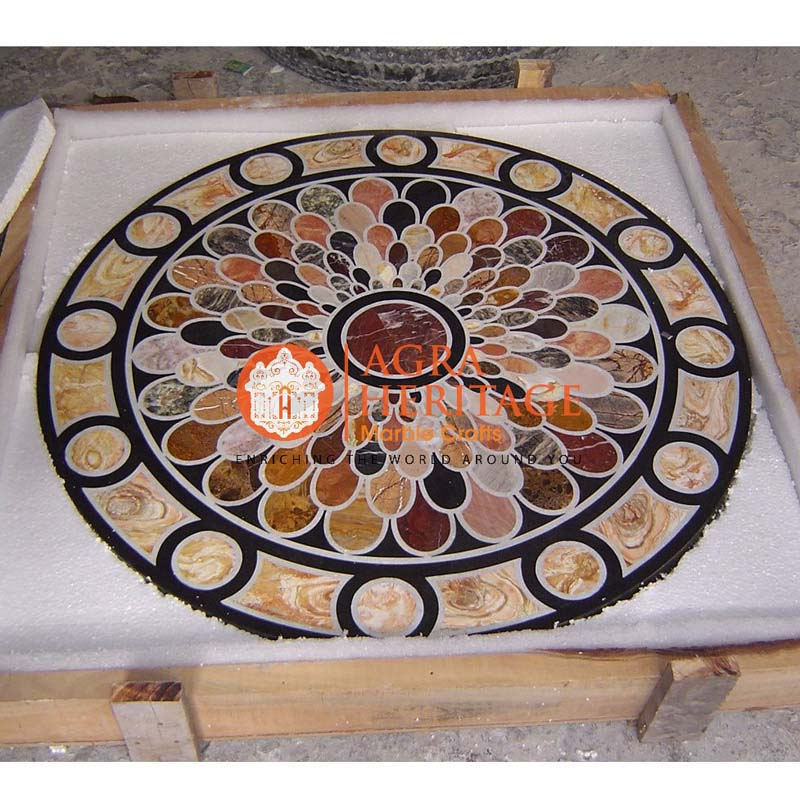 black dining table, table top, home decor table, center table top, inlay dining top, stone inlay table, hallway decorative table, round dining inlay table