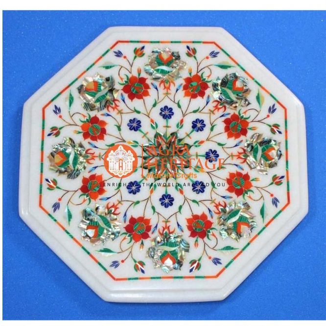 decorative coffee table, small coffee table, white marble table, white table top, customized table top, white marble top prices, decorative inlay coffee table, stone inlay table