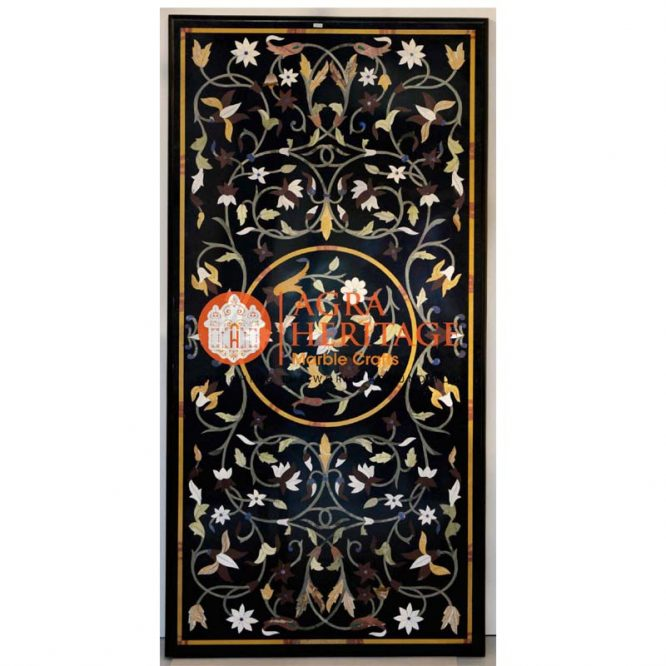 decorative inlay dining table, buy marble table, marble center dining table, dining stone table top, living room dining table, hallway kitchen table, black marble inlay table, top center table