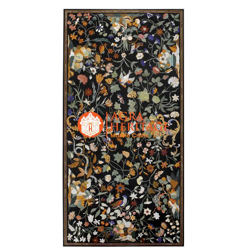buy marble inlay table, black dining table, bedroom table top, buy online dining table, customized dining table, center table top, hallway decorative table, decorative inlay dining table, inlay semi precious table top