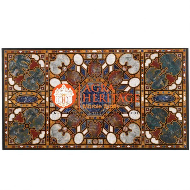 decorative inlay dining table, table top for housewarming gift, hallway decorative table, marble stone dining outdoor, black marble top prices, black pietra dura table top