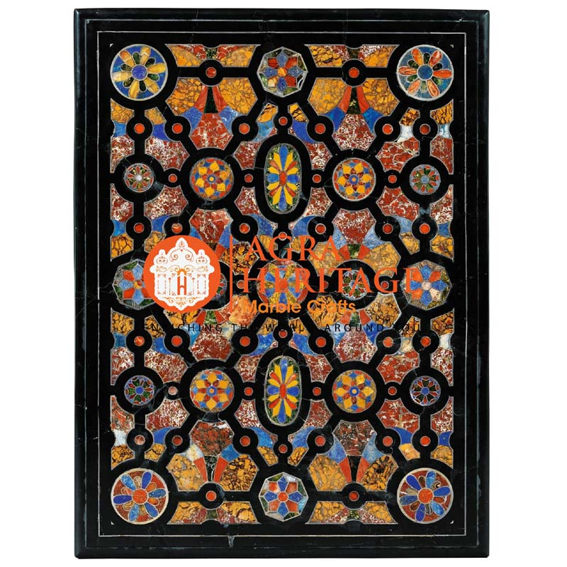 pietra dura table top with prices, black inlay table top, center side table, corridor decor table top, custom coffee table, inlay top table, dining top table, living room dining table, marble inlay dining table