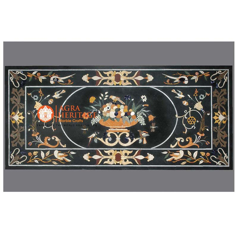 decorative table, marble stone dining outdoor, black marble top prices, black pietra dura table top, table top for housewarming gift, top black dining table, conference table top