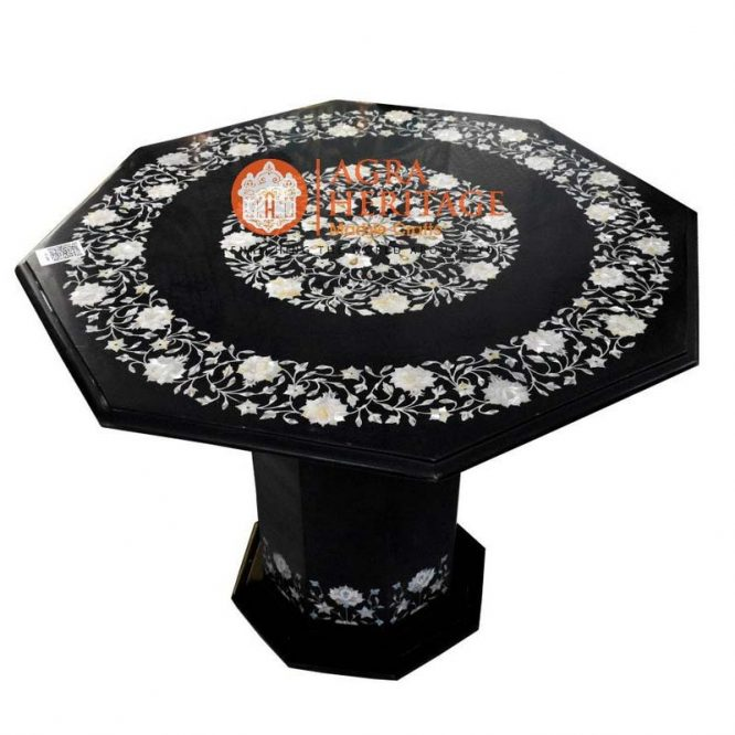 bedroom decor table, buy marble table, buy marble inlay table, customized coffee table, furniture decor table, hallway kitchen table, home decor table, inlay semi precious table top, mother of peral inlay table top, octagon stone table top, stand inlay table, stand table top, top coffee inlay table
