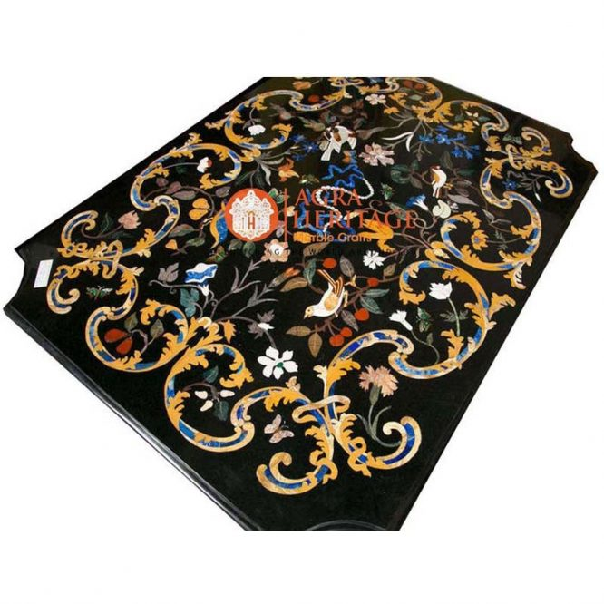 top dining inlay table, top black dining table, stone inlay table, restaurant table top, stone dining table, pietra dure table tops, marble inlay dining table, inlay semi precious table top