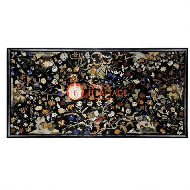 top dining inlay table, top black dining table, stone inlay table, restaurant table top, stone dining table, pietra dure table tops, marble inlay dining table, inlay semi precious table top, dining table top