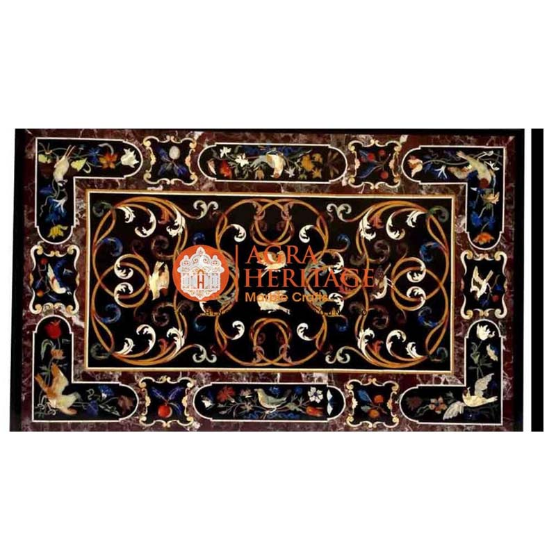 pietra dure table tops, marble inlay dining table, inlay semi precious table top, dining table top, living room table, furniture decorative table