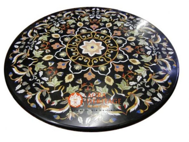 black dining table, black dining table top, side dining table, dining stone table top, inlaid floral stone table, top dining table, inlay top dining table