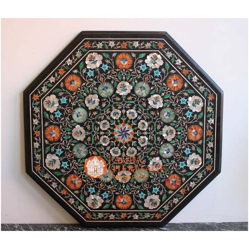 octagon coffee table, inlay coffee table, decorative table top, kitchen table top, outdoor table top, marble inlay table top, living room table top