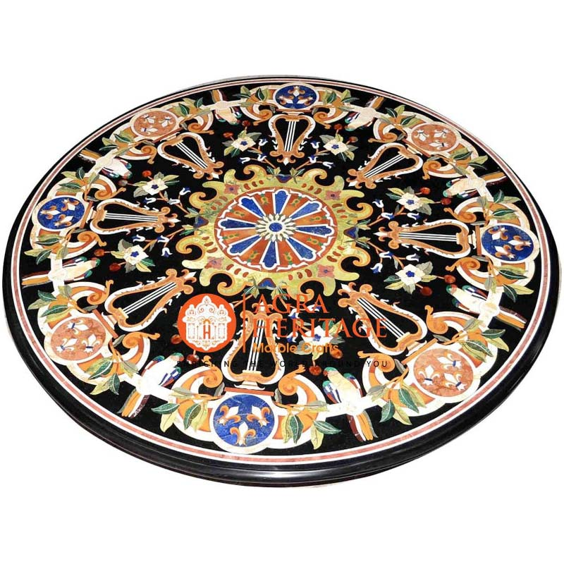 round table top, round dining table, inlay dining table, table top for housewarming gift, black table top, black dining table top, inlay marble table, stone dining table