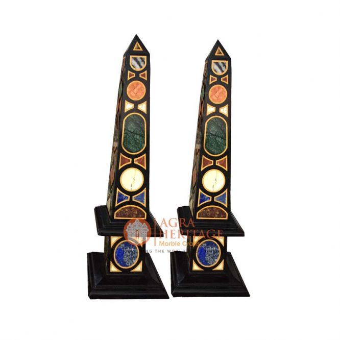 Italian Marble Pair of Obelisks Pietra Dura Arts