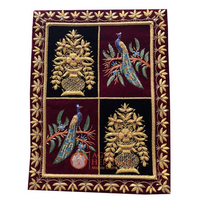 decorative carpet, wall hanging panel, embroidery wall hanging, jewel hanging carpet, golden string design carpet, kashmiri carpet at best price