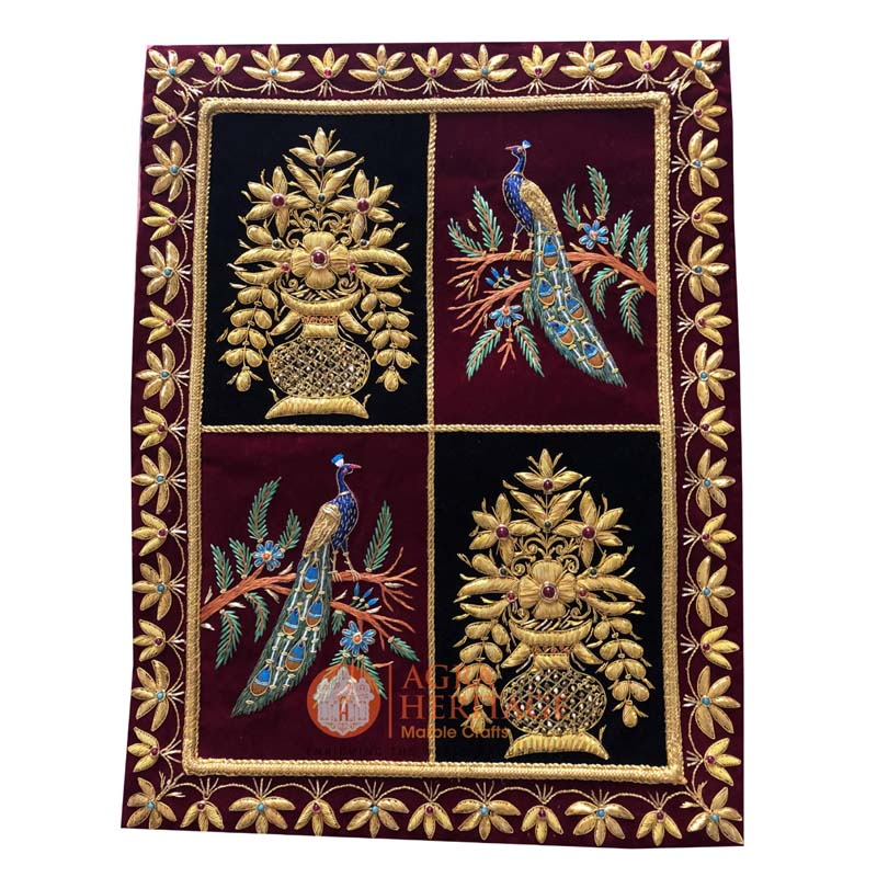 decorative carpet, wall hanging panel, embroidery wall hanging, jewel hanging carpet, golden string design carpet, kashmiri carpet at best price