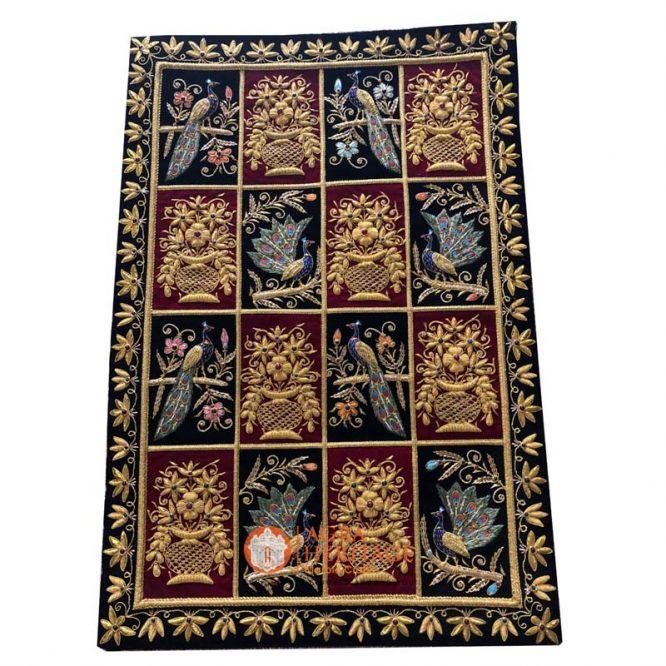 decorative carpet, wall hanging panel, embroidery wall hanging, jewel hanging carpet, golden string design carpet, kashmiri carpet at best price, home decor carpet
