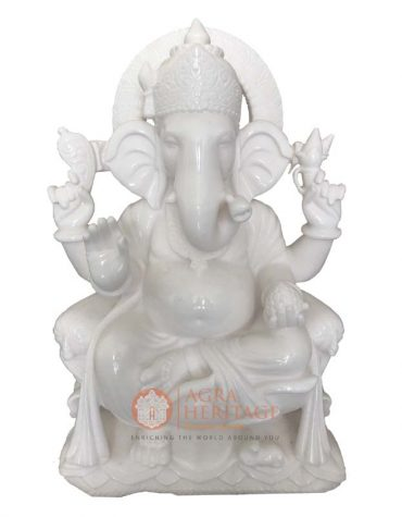 marble ganesha, ganpati statue, white marble ganesha sculpture, handmade ganesh statue, religious sculpture, idol ganesha, temple decor, ganpati decorative sculpture