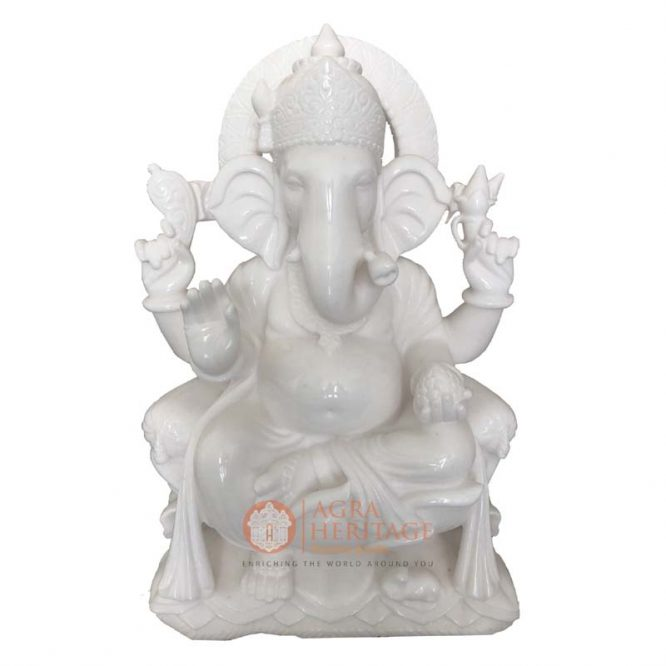marble ganesha, ganpati statue, white marble ganesha sculpture, handmade ganesh statue, religious sculpture, idol ganesha, temple decor, ganpati decorative sculpture