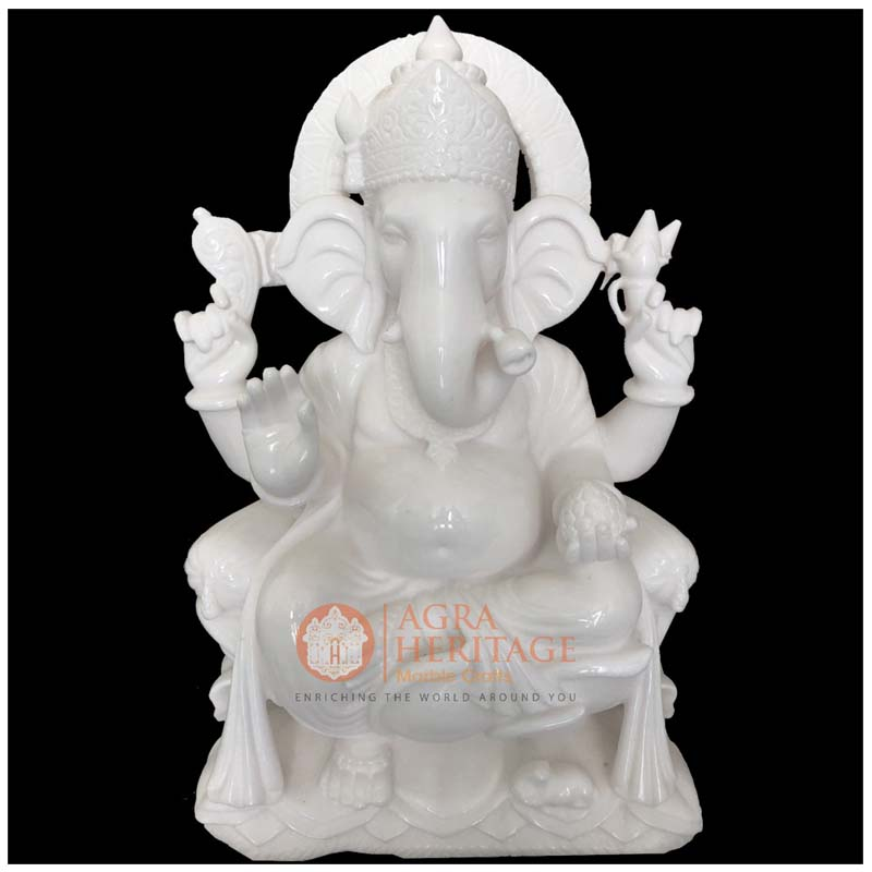 White Marble Ganpati Vinayak Ganesha Idol Statue Welcome To
