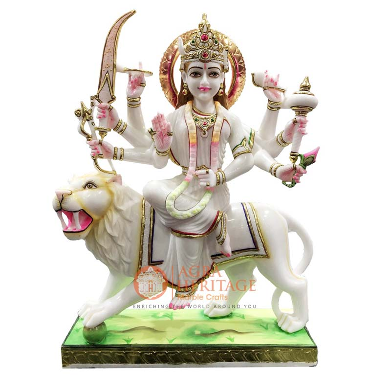 marble durga statue, handmade divine sculpture, devi maa sculpture, religious durga maa idol statue, religious gift