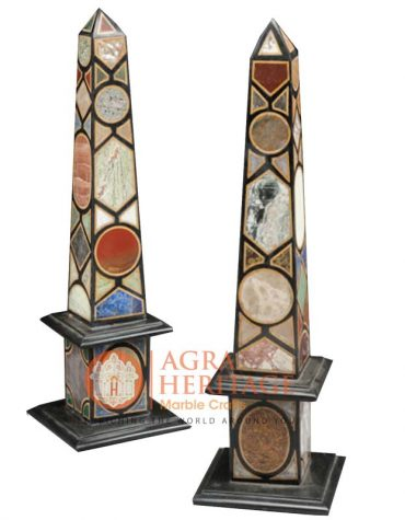Decorative Marble Obelisks Pair Italian Pietra Dura Arts