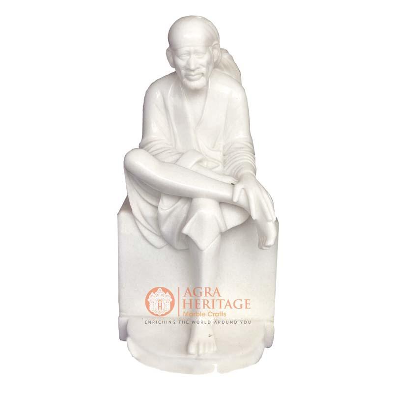 white marble statue, marble sai baba, sai baba statue, handmade sai baba sculpture, sai baba figurine, religious gift, idol sai baba, shirdi sai baba, decorative sai baba figurine,