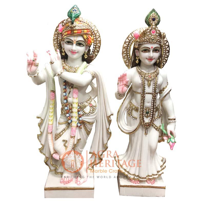 marble radha krishna, hand painted krishna statue, radha krishna sculpture, online murti price, radha krishna sculpture, handmade statue, hand painted radha krishna sculpture, divine gift, love gift, radha krishna murti