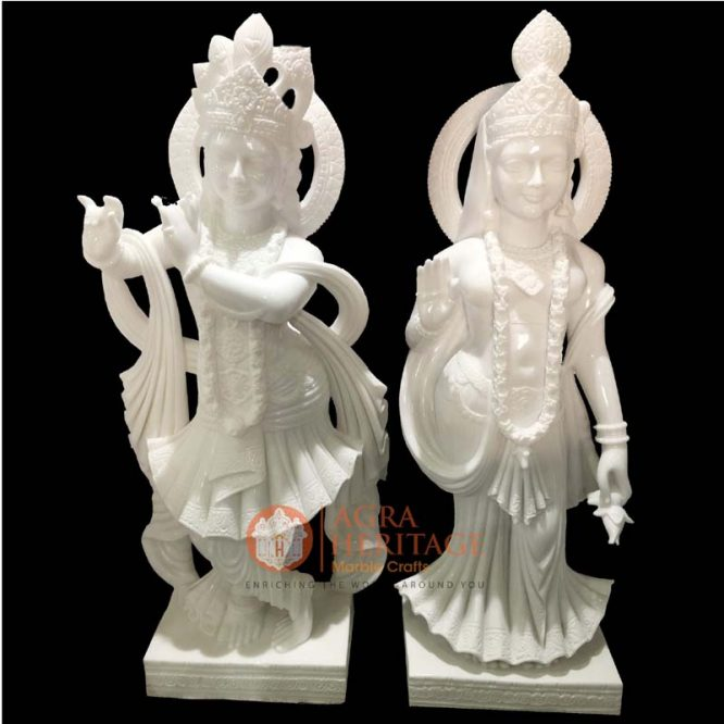 White Marble Radha Krishna Handmade Statue Decor Welcome To