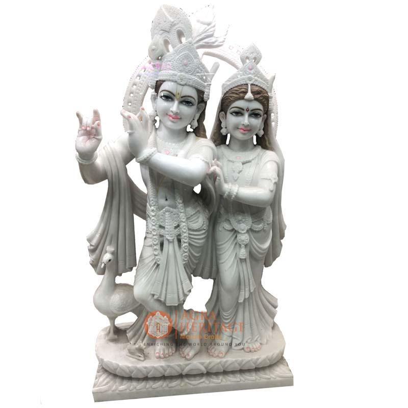 marble radha krishna, radha krishna statue, handpainted radha krishna, decorative radha krishna, radha krishna sculpture, religious radha krishna statue, white marble radha krishna, religious gift, radha krishna statue for love gift, radha krishna online price