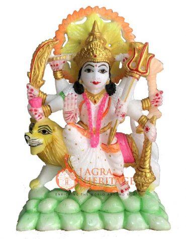 white marble durga, marble durga statue, hand painted durga sculpture, religious durga figurine, handmade durga statue, marble idol durga sculpture