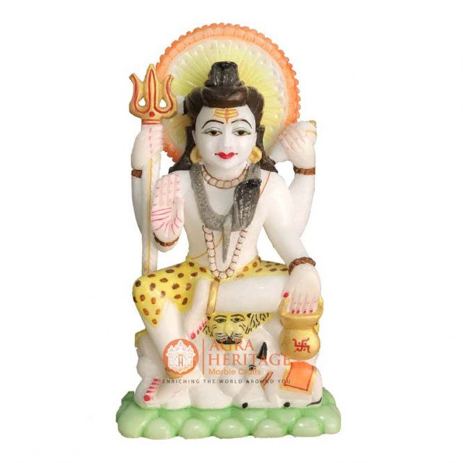 Marble Lord Shiva God Sculpture Hand Painted Art