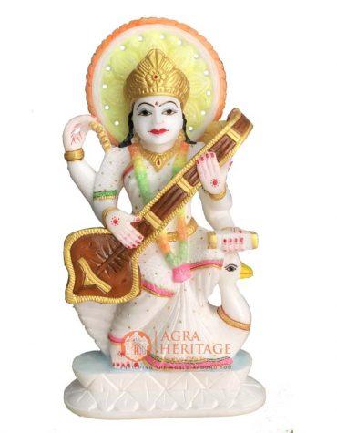 marble saraswati statue, religious saraswati murti, hanpainted saraswati statue, idol religious figurine, white marble saraswati ji, goddess saraswati ji, religious saraswati sculpture, italian marble saraswati ji, saraswati ji murti for gift
