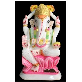 White Marble God Ganpati Ganesh Idol Statue Decor Welcome To