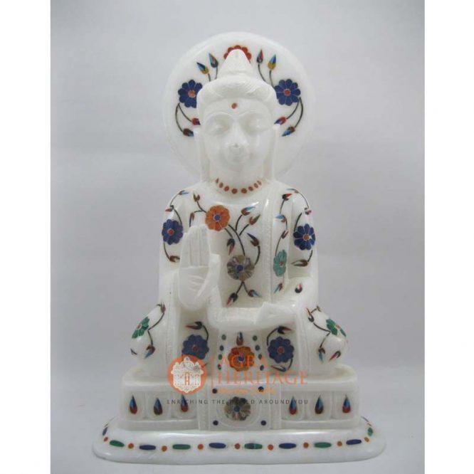 marble inlay buddha, good luck buddha, marble buddha, lord buddha, decorative buddha, buddha figure, blessing buddha, stone buddha, gautam buddha statue,white marble buddha, handmade buddha,