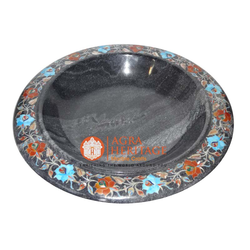 marble bowl, black inlay marble bowl, decorative bowl, stone marble bowl, handicraft bowl, bowl for gift, multi inlay bowl, home decor bowl, marble serving bowl
