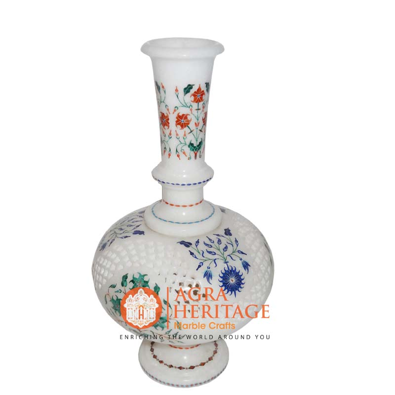 marble vase, white marble vase, inlay decorative vase, designer vase, stone marble inlay vase, vase for housewarming gift, home decor vase, stone marble vase, customized marble vase, handicraft vase
