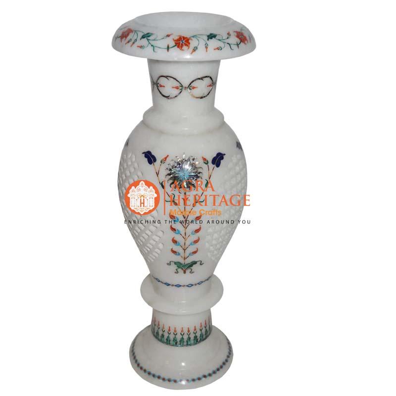 marble inlay vase, custom vase, decorative marble vase, white marble vase, living room decor, vase for gift