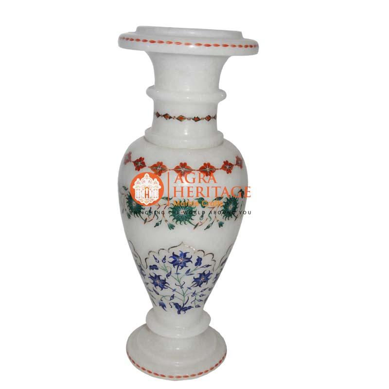 inlay vase decor, living room decorative vase, customized marble vase, stone marble vase, white decorative vase,