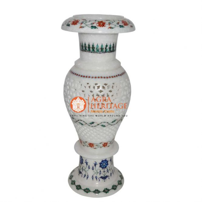 stone marble vase, white marble vase, marble inlay vase, decorative vase, multi inlay vase, decorative vase, marble stone handicraft vase, marble vase for home decor, vase for giving gift,