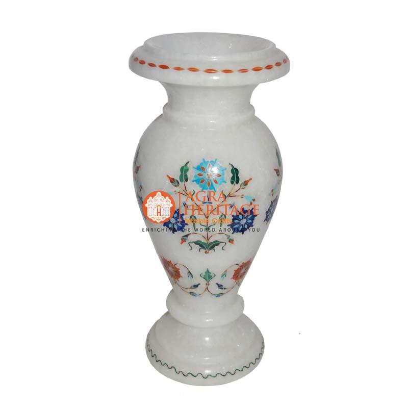 multi inlay vase, decorative vase, marble stone handicraft vase, marble vase for home decor, vase for giving gift,