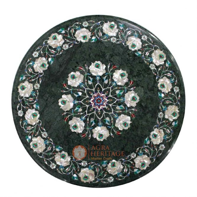 buy marble inlay table, coffee table top, inlay coffee table, decorative coffee table, corner table top, hallway decorative table, customized table top, center side table, Coffee stone table top, green malachite stone table, malachite floral table, pauashell table plate, inlay table top,