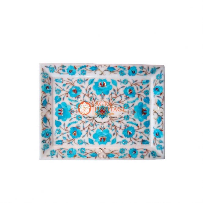turquoise inlay plate, semi precious stone plate, white marble plate, kitchen decor plate, handmade plate decor, housewarming gift plate, plate for housewarming gift, pietradura plate