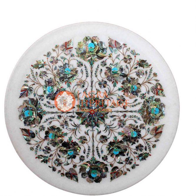 pauashell table plate, semi precious stone plate, white marble plate, kitchen decor plate, handmade plate decor, housewarming gift plate, plate for housewarming gift, pietradura plate