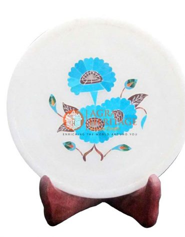 Round White Marble Turquoise Interior Dish Plate