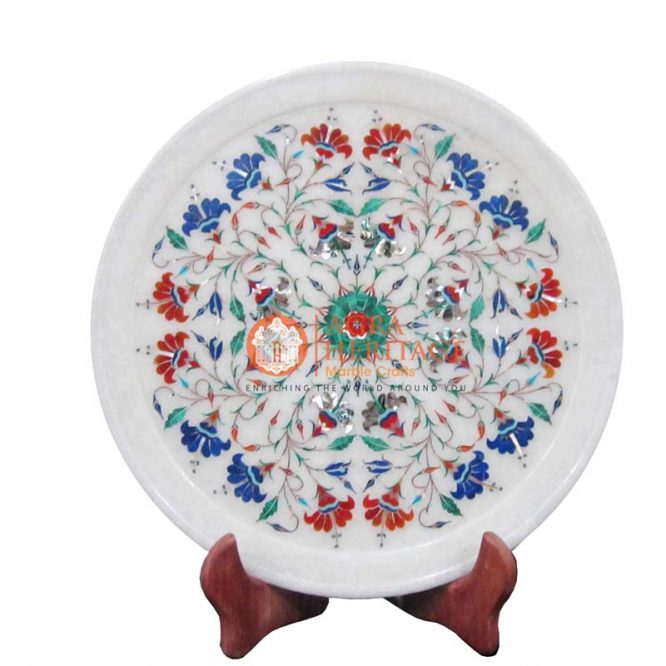 marble plate,marble white plate,decorative plate,housewarming plate,marble inlay plate, marble interior, floral plate,dish plate,design plate,