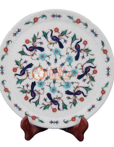 marble plate,white marble plate,taj mahal art plate,pietradura plate,semi precious stone plate,dish plate design plate,kitchen plate