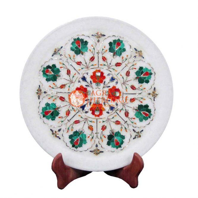 marble plate,white marble plate,plate,pietradura plate,semi precious stone plate,dish plate design plate,kitchen plate