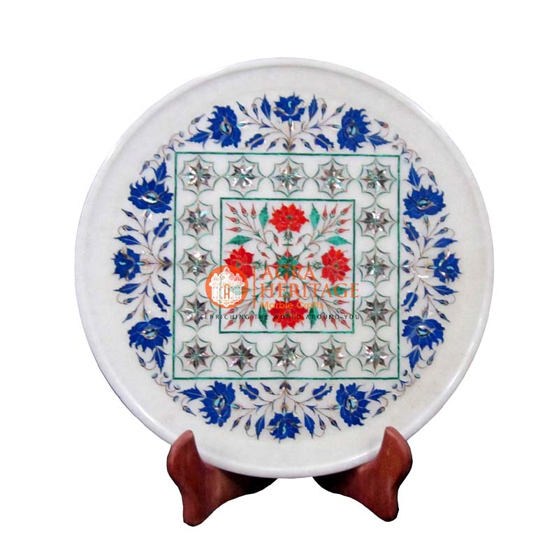 plate,marble plate,white marble plate, decorative plate, floral plate, inlay stone plate, serving plate, dining plate, kitchen plate