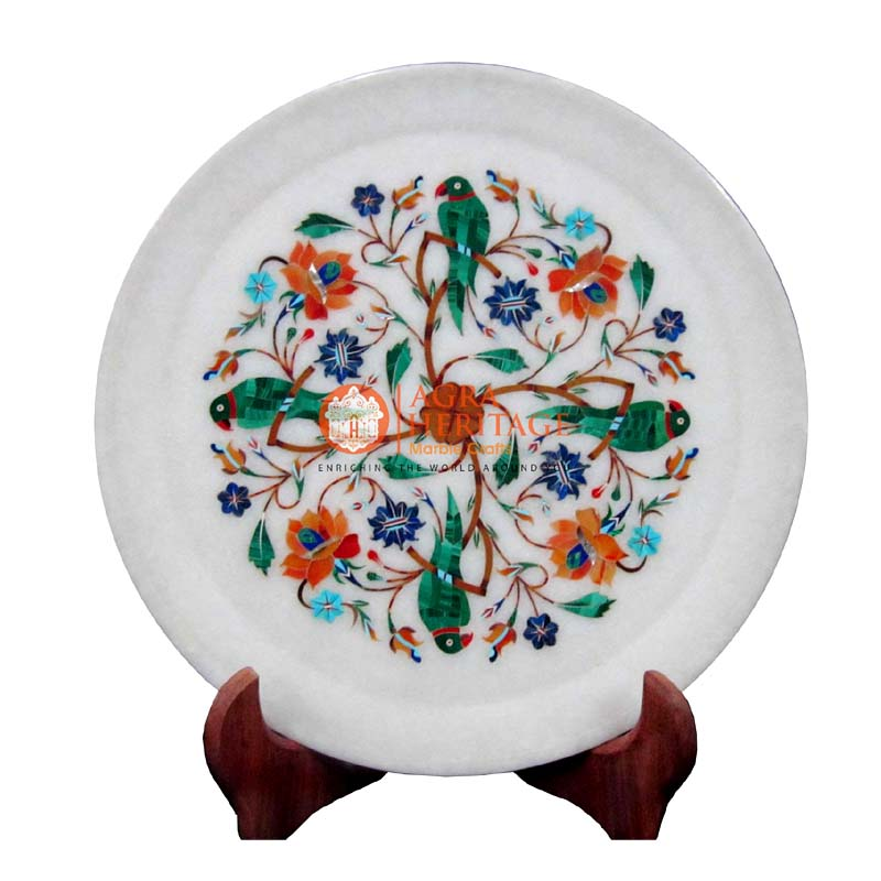 plate,marble plate,white marble plate, decorative plate, floral plate, inlay stone plate, serving plate, dining plate, kitchen plate,parrot design plate,multi color plate