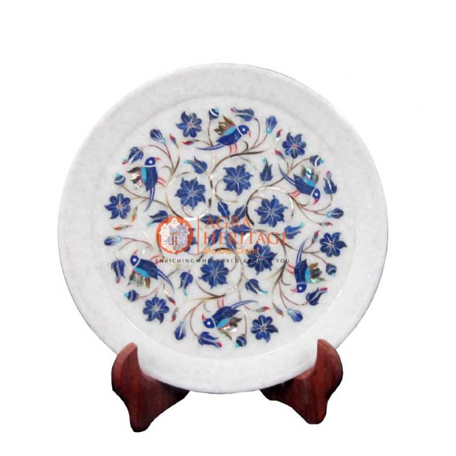 plate,marble plate,white marble plate, decorative plate, floral plate, inlay stone plate, serving plate, dining plate, kitchen plate,lapis birds art plate,multi color plate,